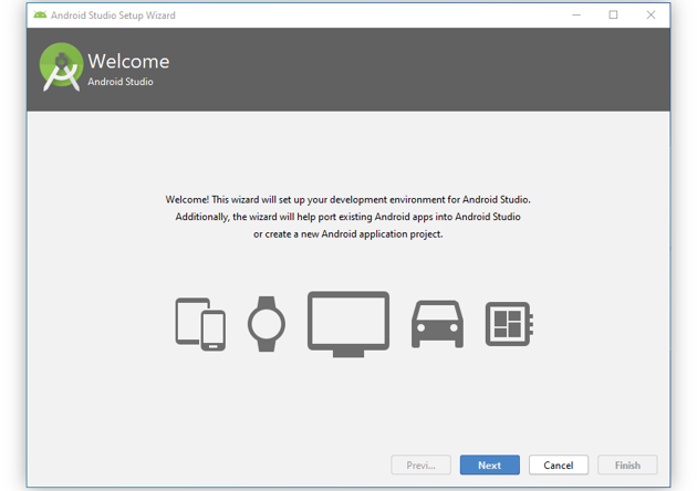 Android Studio welcome dialog