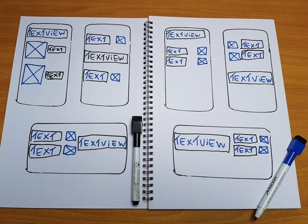 A series of different wireframes for the checklist screen