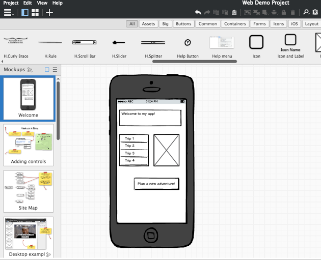 An example of a digital wireframe