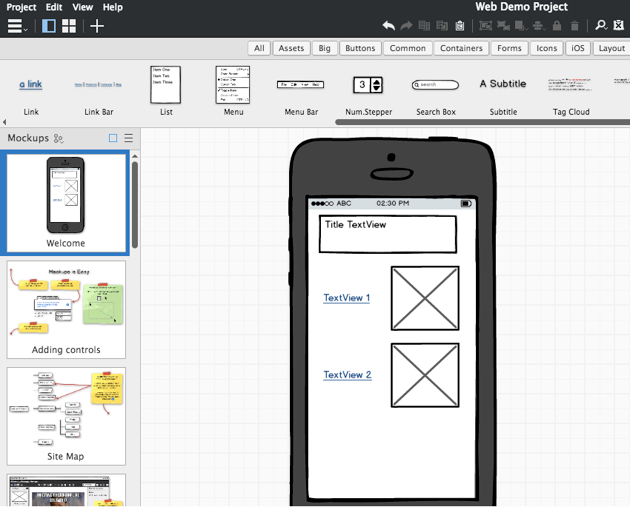 The checklist screen as a digital wireframe created using Baksmiq Mockups