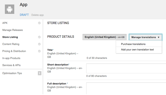 Youll find a Purchase Translations option in the Google Play Developer Console