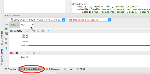 Select the Android Monitor tab towards the bottom of the main Android Studio window followed by the Monitors tab