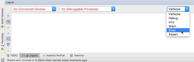 Open Logcat Monitors dropdown and select Error