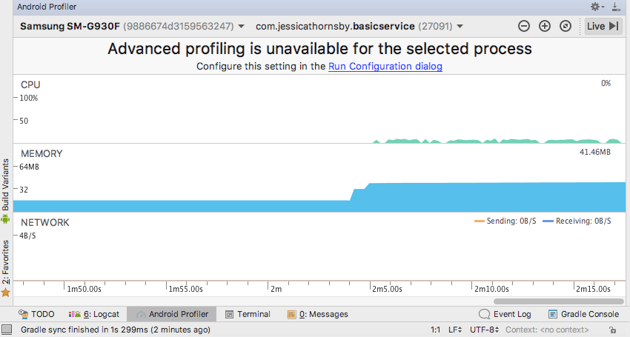 The Android Profiler displays three timelines CPU Memory and Network