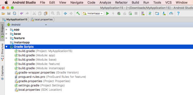 Projects with instant app support are structured differently to regular installable-only projects