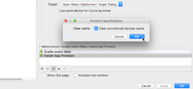 Select the Clear provisioned devices cache checkbox then click OK