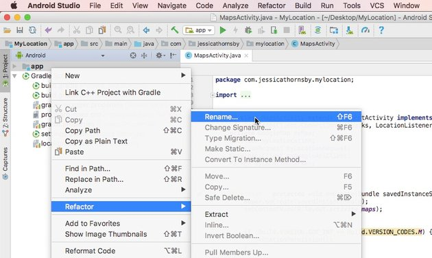 Select Refactor Rename from the context menu