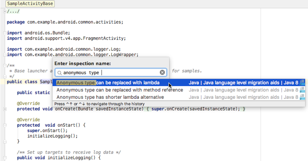 Select Anonymous type can be replaced with lambda from the Enter inspection name popup