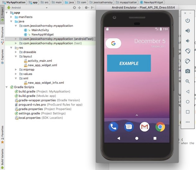 Test your widget on an Android Virtual Device