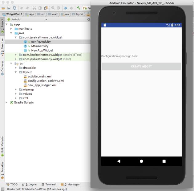 Test the application widget configuration Activity
