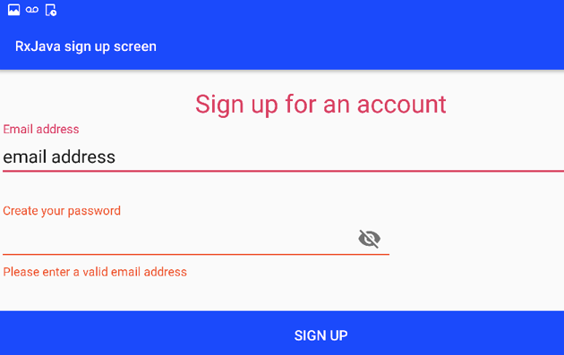 Enter anything other than a valid email address and the app will display a warning message