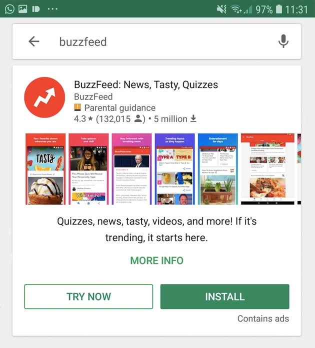 The BuzzFeed app is one example of an Android Instant App