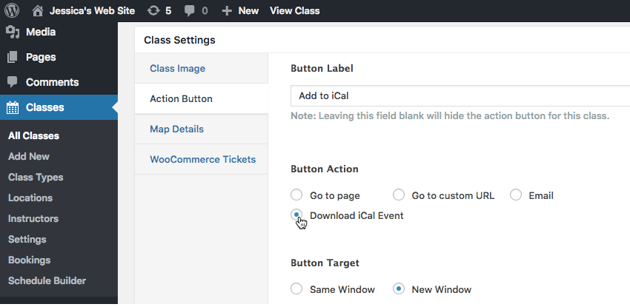 Use the Button Action section to specify the action that should be completed whenever this button is selected