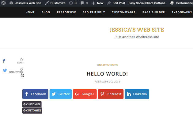 Add a follower counter button to your WordPress account