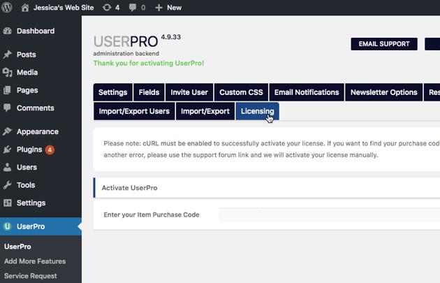 Select UserPro from WordPress left-hand menu followed by Licensing
