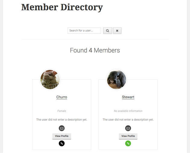 The Member Directory displays the profile picture and basic information for everyone whos registered with your website