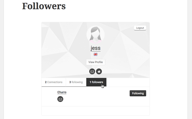 The Followers page displays a list of all the users whove followed your account