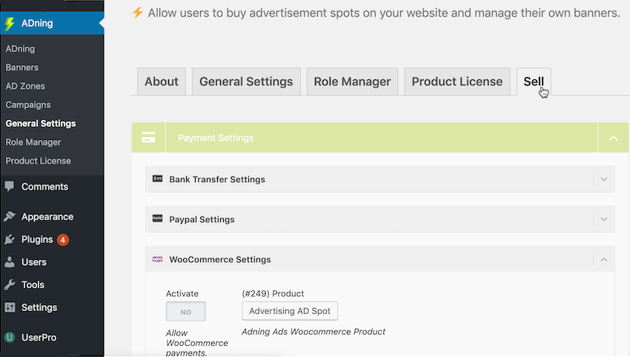 Navigate to ADning  General Settings  Sell