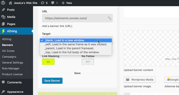 Specify where the embedded URL should load