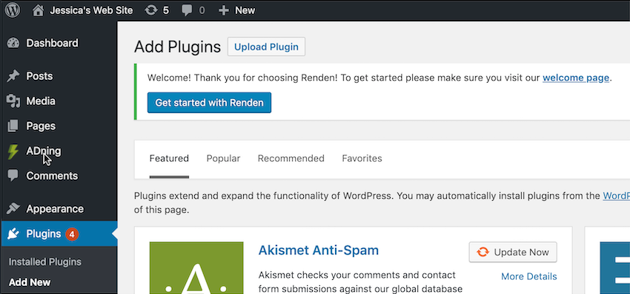 Install the ADning WordPress plugin
