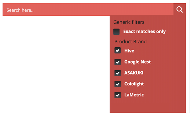 You can add several different kinds of filters to your Ajax Pro Search bar