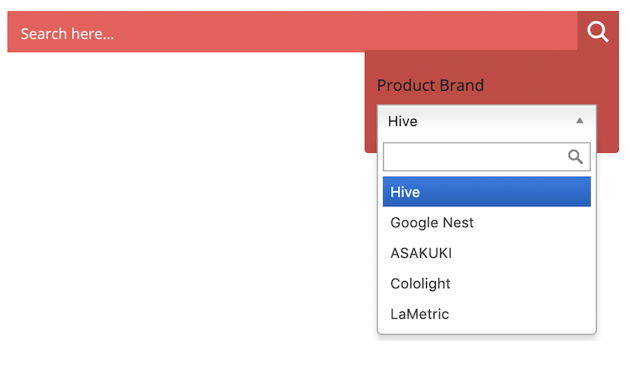 Drop-Down With Search displays your taxonomies as a dropdown menu with an accompanying search box