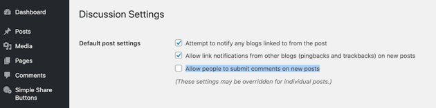 You can block comments on all future posts by navigating to Settings  Discussion  Allow people to submit comments on new posts