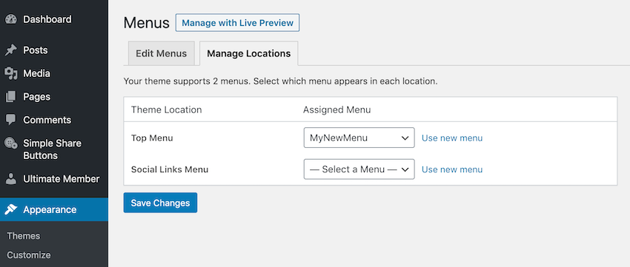 You can display a menu across your entire WordPress website by setting it as the Top Menu