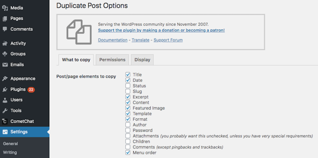 Duplicate Post can create a perfect replica of any page or post including copying assoicated information such as the author title and comments