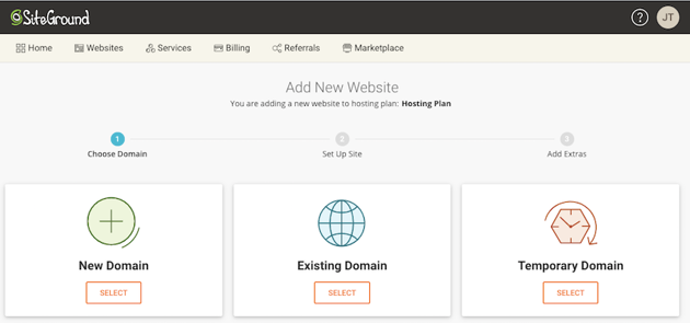SiteGround lets you add a new name register an existing domain or setup a temporary domain