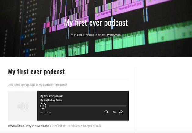 My first ever podcast post in full