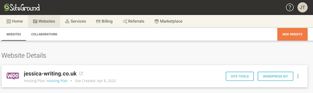 Site Tools button in SiteGround