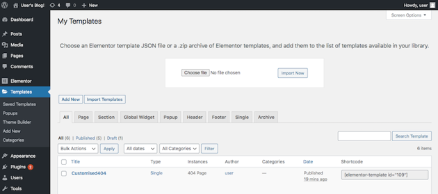 You can import an entire Template Kit using WordPress Templates Add New menu