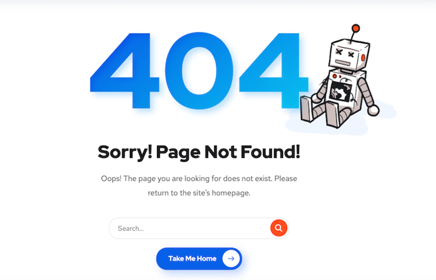 Onums 404 template continues the distinctive blue and orange color scheme