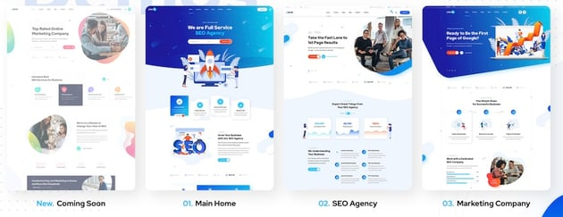 Onum provides 8 different homepage layouts that are all geared towards SEO and digital marketing services