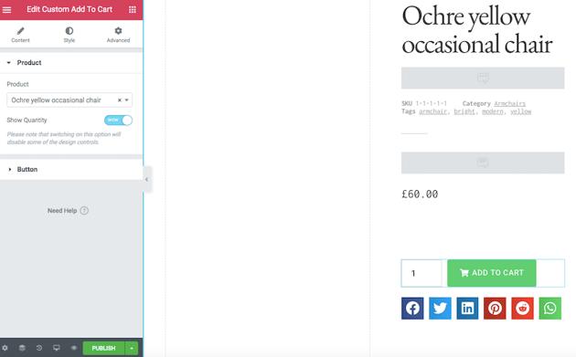 Elementors Custom Add to Cart widget can display an optional Quantity text box