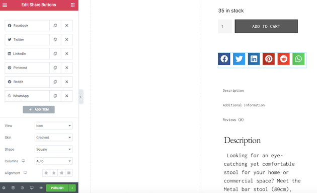You can style your social sharing buttons using Elementors Style tab