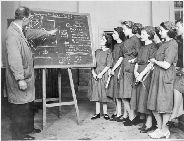 Training for work teacher at a blackboard