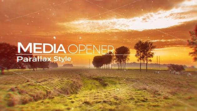 Parallax style media opener titlecard