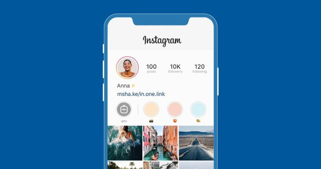 Instagram with bio link on a mobile phone blue background