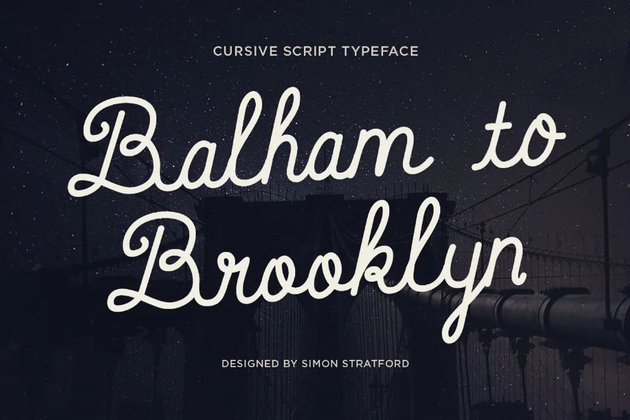 Sample of Balham to Brooklyn typeface