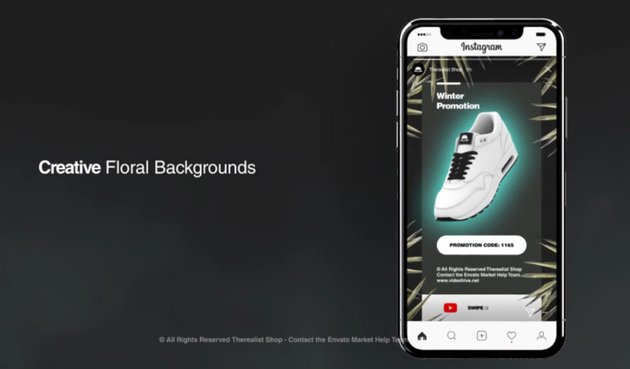 Advertizement mock-up for an instagram video template