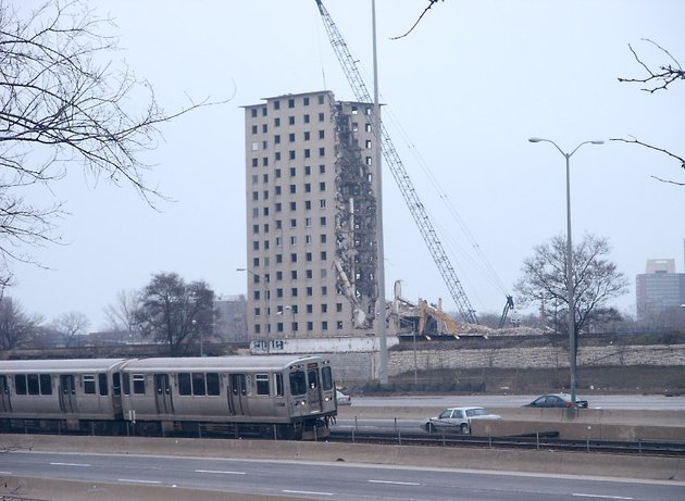 The demolition of a Robert Taylor building in January of 2006.