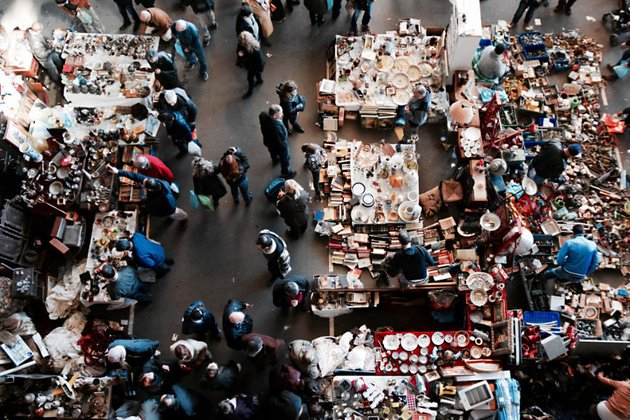 Flee market in Barcelona photographed from above looking down