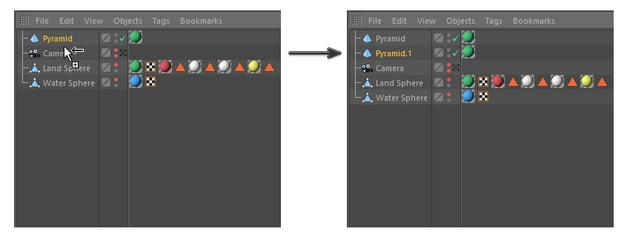 Image of how to duplicate the pyramid in Cinema 4D