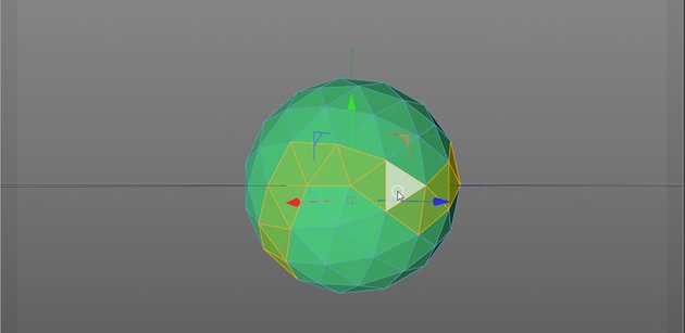 Image showing how to select polygons in Cinema 4D