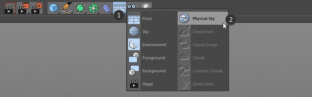 Physical sky button in Cinema 4D