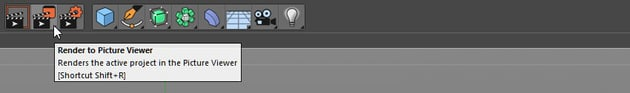 Render to picture viewer button in Cinema 4D
