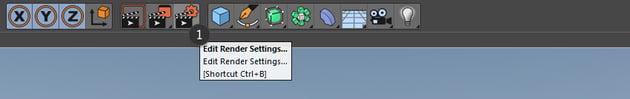 Edit render settings button in Cinema 4D