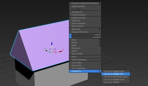 Image of how to convert an object into an editable poly
